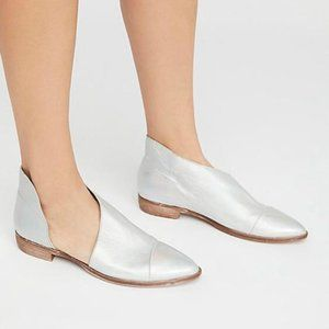 Free People Point Toe Holographic Silver Flats 39